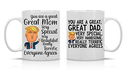 Great Mom, Great Dad Very Special - 11oz Ceramic Coffee Mug Couples Sets - His and Her Anniversary Gift - Cute Trump 2020 Republican Couple Gifts - Funny Office Cup - By CBT Mugs