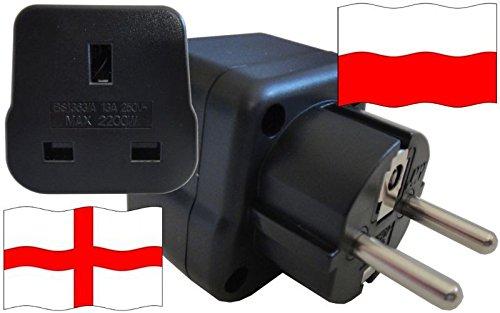 Steckdosenadapter für Polen - Steckeradapter England mit Schutzkontakt Reise Stecker