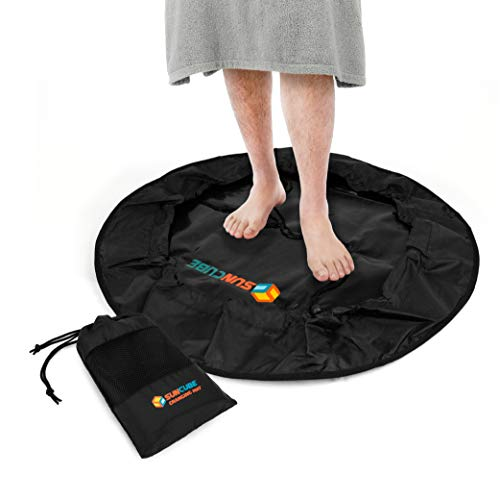 SUN CUBE Wetsuit Changing Mat | Surf Change Mat Waterproof Dry Drawstring Bag - Black