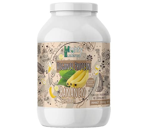 Protein Vegan 1kg I Proteinpulver ohne Gluten & Milcheiweiß, laktosefrei I 85% pflanzliches Eiweiß I 1000g Eiweißpulver Banane