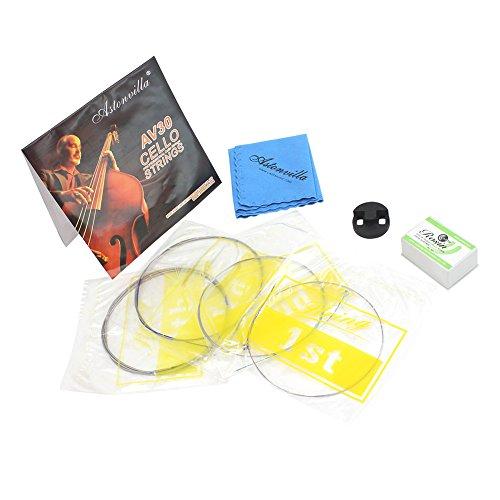 Dilwe 4 in 1 Cello Kits, Cello Saiten Cello Practice Mute Reinigungstuch Kolophonium Instrument Zubehör