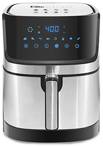 Maxi-Matic Electric Digital Hot Air Fryer Oil-Less Healthy Cooker, 8 Menu Functions, Temp/Timer Settings, PFOA/PTFE Free, 1700-Watts, Stainless Steel 5.3 Quart