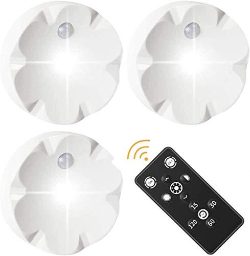 VABOO Luz LED Armario, 3PCS Luces Nocturnas LED Inalámbricas, luz de armario con Pilas Adhesiva Lámpara, LED Luces Noche para Escaleras,Armario,Pasillo,Cocina