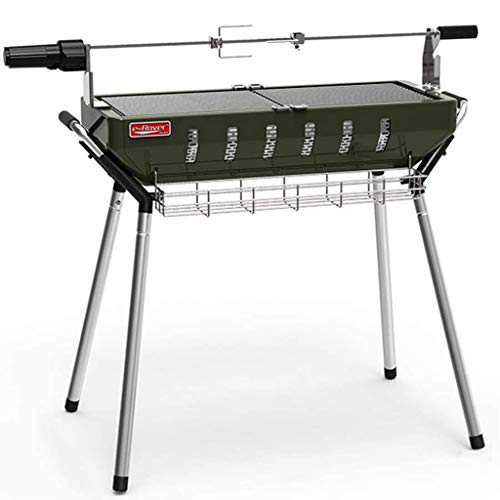 Qazxsw Barbecue Grill,Haus Patio Grill Camping Beach Party Kohlegrill Grill Edelstahl Grill-Werkzeug-Set Bewegliche Picknick-Cooker,Grün,97 * 26 * 73cm