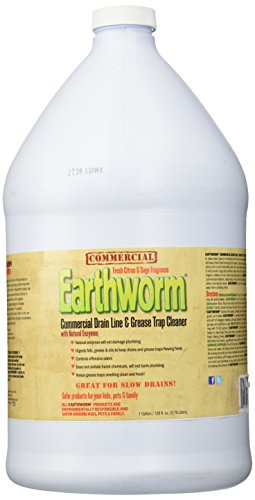 Earthworm Commercial Drain Line and Grease Trap Cleaner Treatment - Clog Remover - Drain Opener/Deodorizer - Natural Enzymes, Environmentally Responsible - 1 Gallon