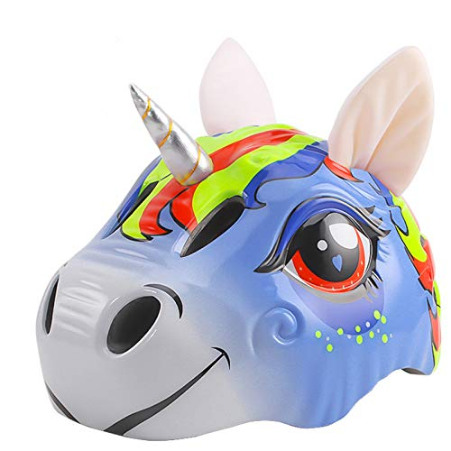 Yeyll Kleinkind-Fahrradhelm für Kinder, 3D-Helm mit Rücklicht, Kinder-Einhorn, Fahrradhelm, lustiger Fahrradhelm für Kinder, Jungen, Mädchen, Sicherheit, Skaten, Roller, Radfahren, extreme Aktivitäten