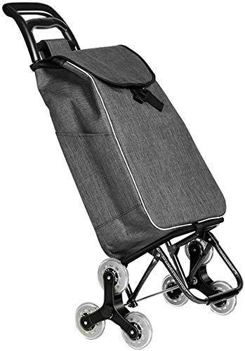 GBX Multifunktionale tragbare Falten Einkaufswagen mit Rädern, Einkaufswagen mit 6 Rädern Einkaufswagen wasserdicht/Removable Markt Aufbewahrungstasche in Grau | Nutzlast 40 kg | Kapazität 39 L