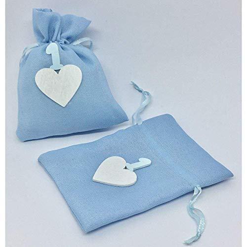 Publilancio Srl 24X Bolsa Azul Cielo Bolsas para Peladillas Corazón 1 Primer Cumpleaños Detalle