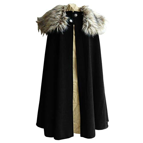 BRUBOBO Mens Medieval Renaissance Cape Viking Vintage Faux Fur Collar Cosplay Coats (Large,Black)