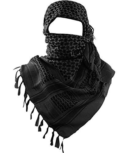 MAGNIVIT Cotton Keffiyeh Tactical Desert Scarf Wrap Shemagh Head Neck Arab Scarf Black