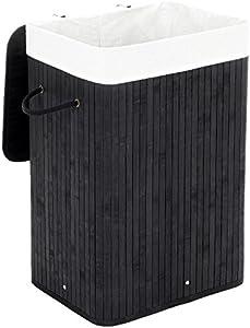 SONGMICS Cesto para la Colada, Cubo para Ropa Sucia, Forma Rectangular, Capacidad de 72 L, 40 x 30 x 60 cm, Negro LCB10B
