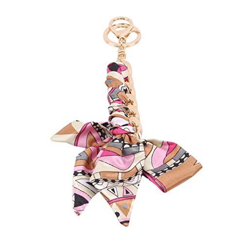 GUYAQ Llavero con lazo de cinta para llavero colgante de coche para bolso de señoras bolso monedero accesorios, rosa rojo