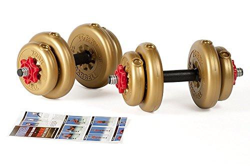 York Fitness Juego de Mancuernas Discos de Vinilo Dorado de 12kg/15kg Ajustables. con Barras de Forma Tubular con spinlock, Unisex, Adjustable Vinyl