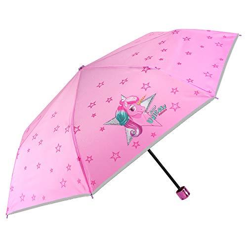 Paraguas Plegable Niña Unicornio - Paraguas Infantil Compacto Rosa con Estrellas - Ribete Plateado y Mango Brillante - Seguro Antiviento Fibra Vidrio Manual - 7+ Años - Ø 91 cm - PERLETTI Kids (Rosa)