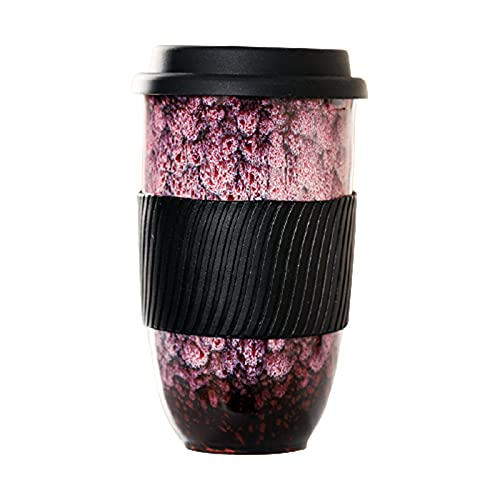 Laoonl - Taza de café, cerámica con tapa y manguito de silicona, taza de leche para Drinkware