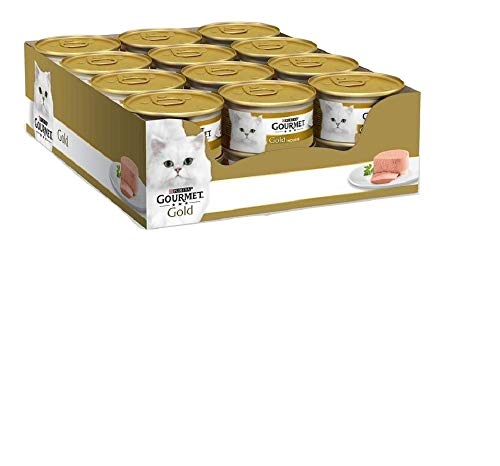 Purina Gourmet Gold Hígado, 24 latas de 85 g de Espuma húmeda para Gatos, 24 Unidades de 85 g ⭐