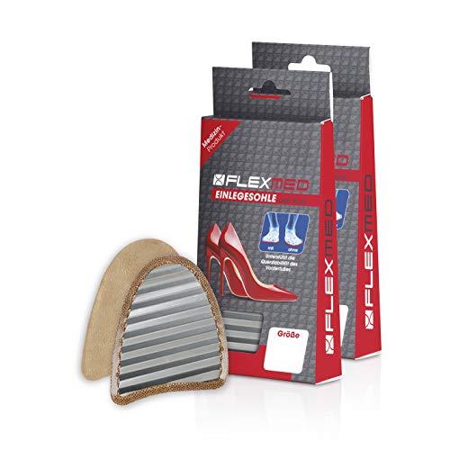 FLEXMED Einlegesohle für mehr Stabilität in High Heels - Damen | Schuheinlagen für bessere Gewichtsverteilung auf dem Vorderfuß, Optimierte Querstabilität | Für Büro oder Freizeit (2 Paare, 36-38)