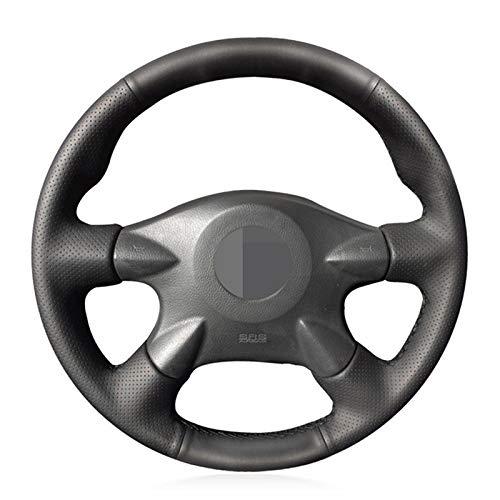 Funda Volante Coche Negro artificial Volante de cuero cubierta for el Nissan Almera (N16) X-Trail (T30) Primera (P12) 2 Terrano Pathfinder Paladin 1 (Color Name : Red Blue Thread)