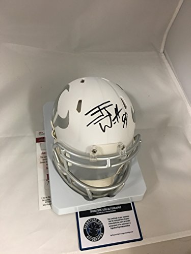 JJ Watt Signed Autographed Houston Texans Rare White ICE Speed Mini Helmet COA & Hologram