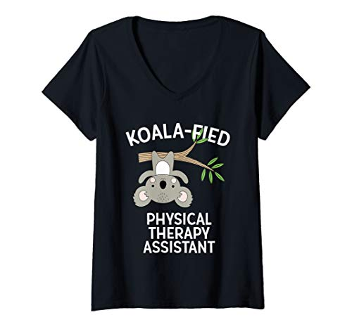 Womens Cute Koala Physical Therapy Assistant Funny PT PTA Pun Gift V-Neck T-Shirt