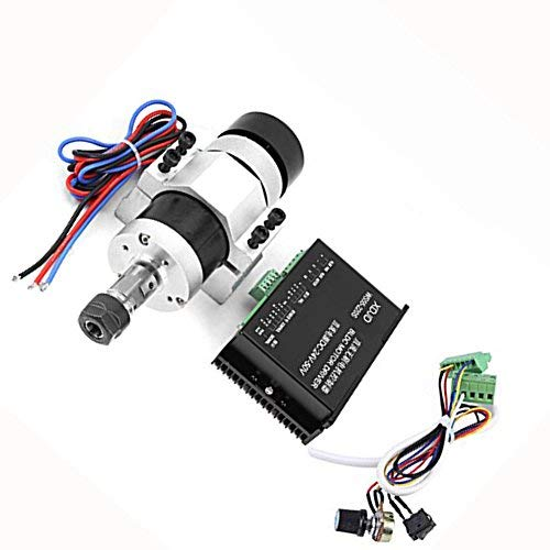Spindle motor kit, high speed air cooling brushless spindle motor 500W ER16 12000 RPM Motor controller motor controller, DC 48V, engraving machine parts