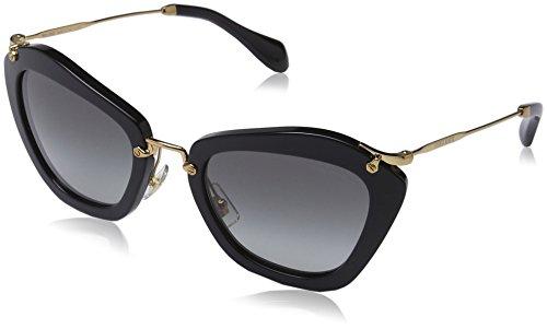Miu Miu Damen MU 10NS Noir Cateye Sonnenbrille, 1AB3M1, Black, Grey Grad