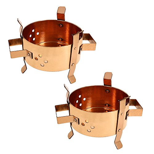 Qualité Artisan traditionnelle indienne Handcrafted cuivre alimentaire Warmer Burner Angeethi Set Of Two