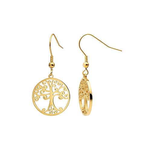 Heideman Ohrringe Damen Lebensbaum aus Edelstahl gold farbend matt Ohrstecker für Frauen mit Symbol Baum des Lebens