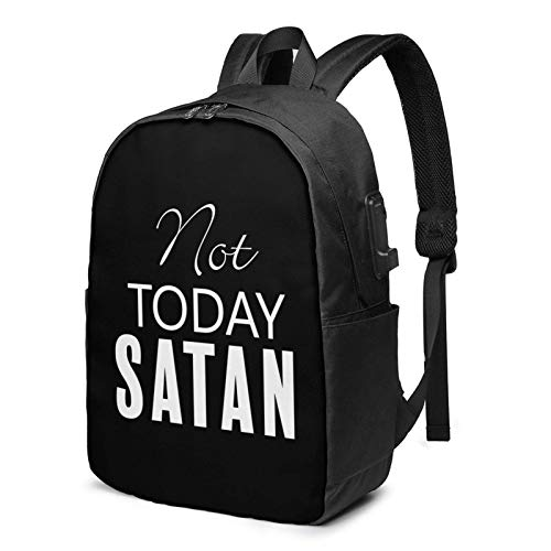 Lsjuee Not Today Satan Anti Travel Laptop Backpack with USB Charging Port for Women Men School College Students Backpack Fits 17 Inch Laptop
