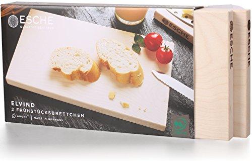 Esche Frühstücksbrettchen Elvind | 2er Set unbehandelte, nachhaltige Brettchen | Made in Germany Schneidbrett nutzbar