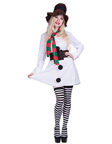 EraSpooky Halloween Adult Snowgirl Costume Dress(White, Medium) - http://coolthings.us