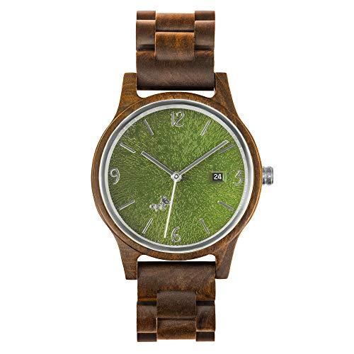 Opis UR-U1: Unisex (Damen/Herren) Retro Holz Armbanduhr aus Schwarzem Sandelholz mit einzigartigem, geprägten Ziffernblatt in Grün mit silbernen Metallelementen