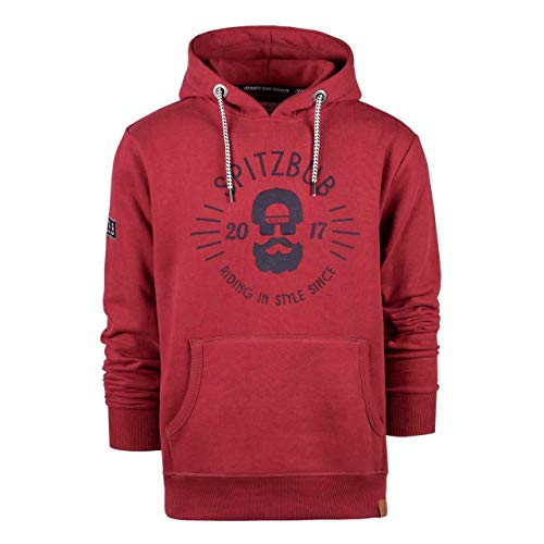 Spitzbub Herren Kapuzenpullover Hoodie Sweatshirt Pullover mit Kapuze, Rot, L
