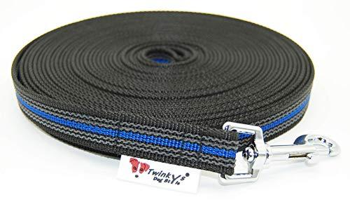 Twinkys Dog Style Made IN Germany Schleppleine Hundeleine gummiert 20 mm breit für Hunde bis 50 kg - MIT Handschlaufe 15 Meter Schwarz Blau