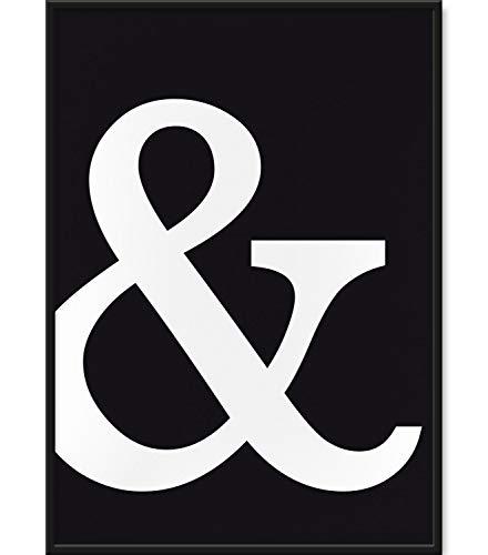 Papierschmiede Typografie Poster | DIN A4 | Stilvolle Wanddeko für Zuhause | Wandbilder in schwarz weiß für den Bilderrahmen | Symbol: & / et/und-Zeichen in schwarz