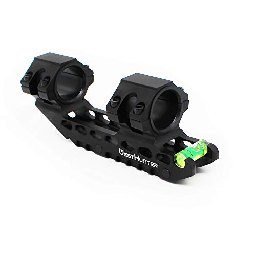 WestHunter Optics Offset Cantilever Picatinny Scope Mount, 1'/30mm High Profile Precision One Piece Scope Dual Rings with Bubble Level, Black