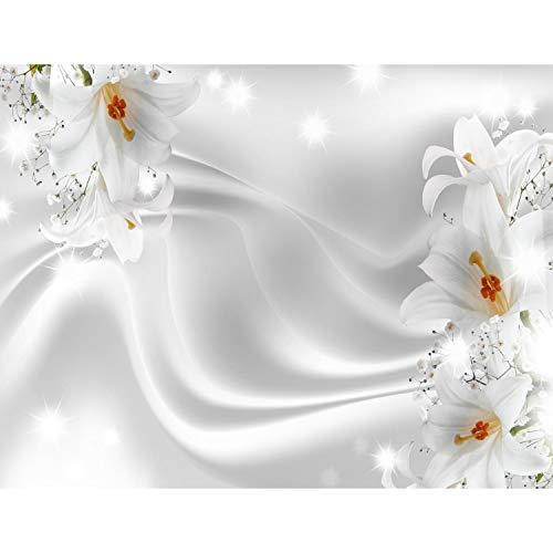 Fototapete Blumen Lilien Schwarz Weiß 396 x 280 cm Vlies Wand Tapete Wohnzimmer Schlafzimmer Büro Flur Dekoration Wandbilder XXL Moderne Wanddeko Flower 100% MADE IN GERMANY - Runa Tapeten 9186012c