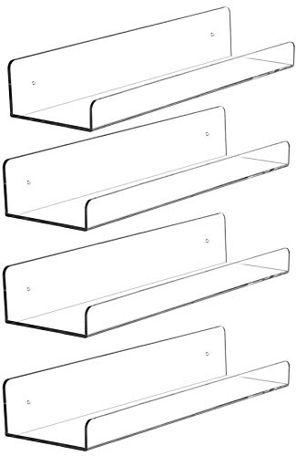 "Cq acrylic 15"" Invisible Acrylic Floating Wall Ledge Shelf, Wall Mounted Nursery Kids Bookshelf, Invisible Spice Rack, Clear 5MM Thick Bathroom Storage Shelves Display Organizer, 15"" L,Set of 4"