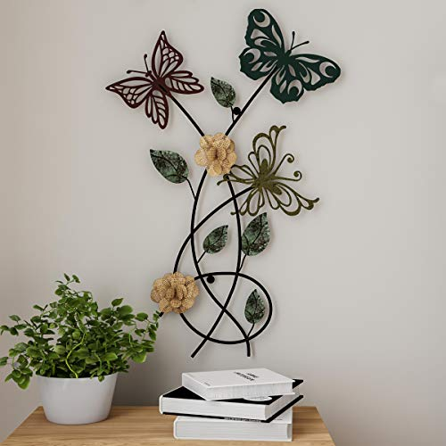 Lavish Home Garden Metal Wall Art Hand Painted 3D Butterflies/Flowers for Modern Farmhouse Rustic Home or Office Decor