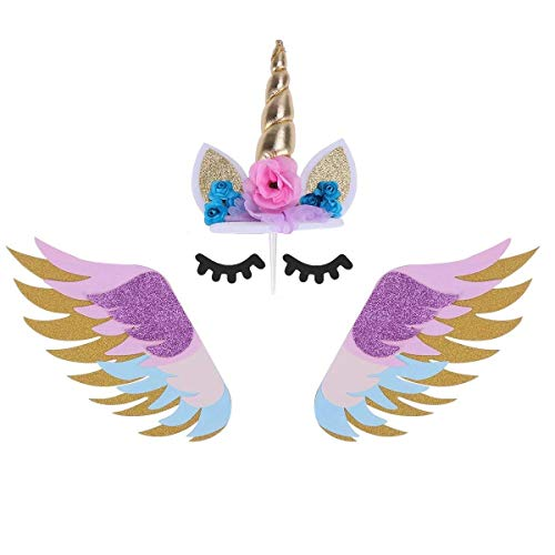 JANOU Unicorn Cake Topper Set Gold Glitter Unicorn Horn Flower Eyelashes with Colorful Wings Cake Decoration for Birthday Wedding Christmas Party Suppliers