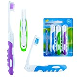 Travel Toothbrush, On The Go Folding Feature, Medium Bristle Brushes (3 Pack)