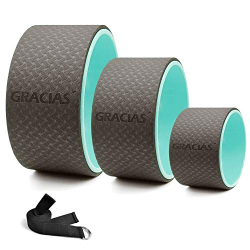 GRACIAS Yoga Wheel Set, Strong & Comfortable Sports Yoga Wheel for Back Pain, Stretching, Improving Flexibility, Free Yoga Strap & Guide (Black&Blue, 3 Pack, 13, 10, 6 inch)