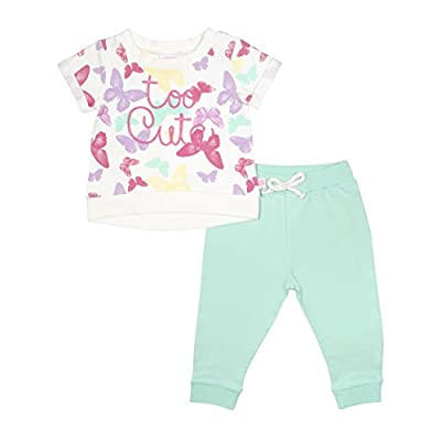 Limited Too 2 Piece Butterfly French Terry Short Sleeve & Jogger Set, 24M