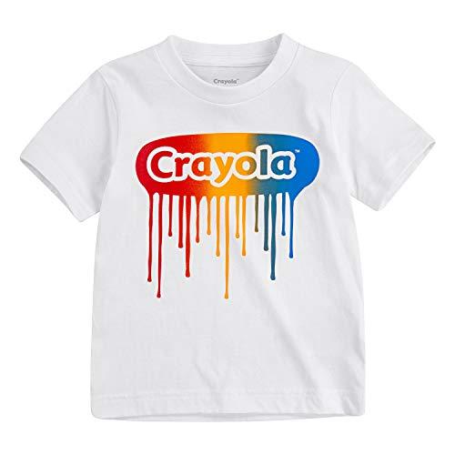 Crayola Children's Apparel Boys' Toddler Short Sleeve Graphic Logo Crewneck T-Shirt Tee, White Drip, 3T