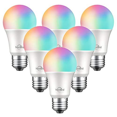 NiteBird Smart Light Bulbs Works with Alexa Echo and Google Home, WiFi Color Changing LED Lights Bulbs Dimmable, A19 E26 8W RGB Warm White 2700k, 75W Equivalent, No Hub Required,6 Pack