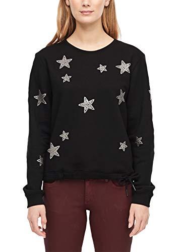 s.Oliver RED Label Damen Sweatshirt mit Silbersternen Black Placed Print 44