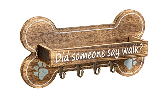 DB DORVEY BEAUTY Rustic Dog Leash Holder, Key Holder for Wall, Bone Shape with 4 Key Holder Hooks Rack Hanger Decorative for Wall and Storage Box for Pet Treats, Accessories Wall Mount