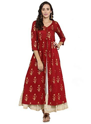 Designer Kurta Kurti Indian Ethnic Party Wear Women Dress Top Tunic Blouse (L) Maroon