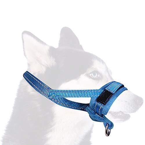 SlowTon Bozal para Perros, Lazo Ajustable, Acolchado Suave de Franela, bozales cómodos, Transpirables y Seguros de Ajuste rápido para Perros pequeños Masticar y ladrar (S, Azul)