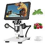 Kacsoo Microscopio Digital, Microscopio Digital Inalámbrico 7'' Microscopio de Aumento 1200x 12MP, HD 1080P Microscopio Digital LCD con 8 LED Ajustables para Mantenimiento e Identificación